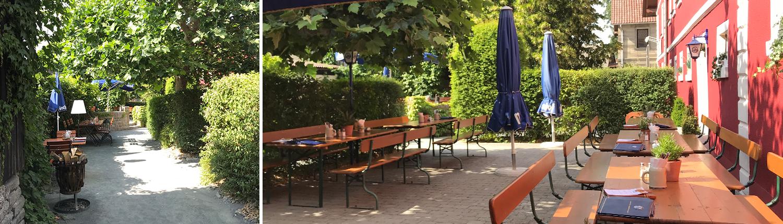 Stegners Landbiergarten mit Tischen unter idyllischem Ahornbäumen